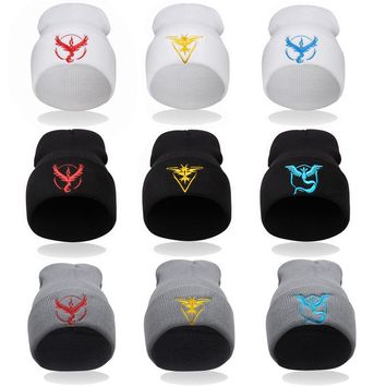 Europe and The United States Style Men and Women's Cartoon Pokemon Go Embroidery Knitted Wool Beanies Hat Hip Hop Ski Cap RX086