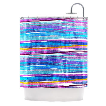 "Frederic Levy-Hadida ""Fancy Stripes Dark Blue"" Shower Curtain"