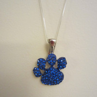 U.K. University of Kentucky/KY Blue Paw Print Pendant on Sterling Silver Chain