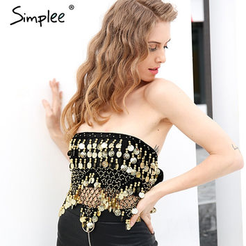 Simplee Black beading summer short top tees Lace up tassel punk crop top women Sexy hollow out sequin coin chain velvet tube top