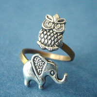Silver owl ring with an elephant by stavroula on Etsy
