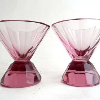 Moser Art Deco Cut Crystal Cocktail Shot Glasses, amethyst purple glass