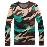 Camouflage Ribbed Trim Pullover Sweater