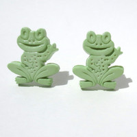 SALE CLEARANCE Frog Earrings Post Stud Green Peace Toad Smiling Kermit Amphibian Light Pastel Animal Mint Green Jewelry Free Shipping