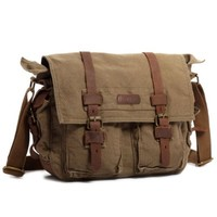 """Kattee British Style Retro Unisex Canvas Leather Messenger Shoulder Bag Fits 14.7"""" Laptop (Army Green)"""