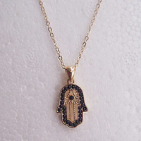 Necklace 062: Hand Necklace, Hamsa Necklace, Charm Jewelry Personalized Gift