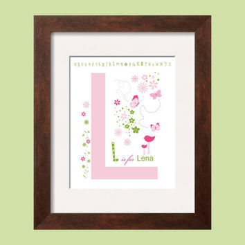 L Print Initial in Pink and Green 8x10 Monogram Letter bird butterfly flowers coordinates with Pottery Barn Girl Bedding