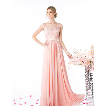 Blush Pink Chiffon Sheer Embellished Long Dress 2016 Prom Dresses