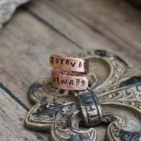 FOREVER & ALWAYS-Swirl Copper Ring-Custom Piece-Hand Stamped-Personalized Jewelry-Rustic-Vintage