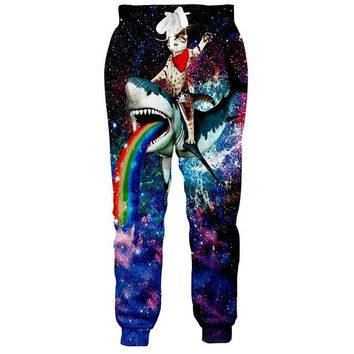 Cat Riding Shark - Universe Celestial Stars Outer Space All Over Print Joggers Pants
