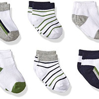 Yoga Sprout Baby 6-Pack No-Show Socks, Navy/Olive, 0-6 Months