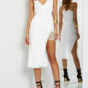 Beige Spaghetti Strap Asymmetric Dress