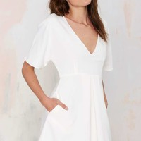 Nasty Gal Carrie Pleated Dress - Ivory
