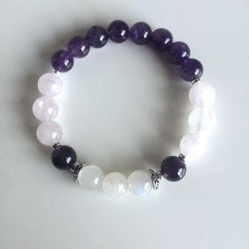 Genuine Amethyst, Moonstone & Rose Quartz Bracelet w/ Sterling Silver Accents ~ Peace, Harmony and Tranquility