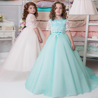 Two Pieces Arabic Mint Blush 2017 Lace Flower Girl Dresses for Weddings Little Girls Pageant Gowns First Communion Dress F126