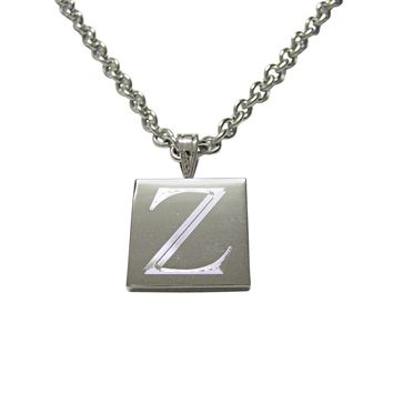 Letter Z Etched Monogram Pendant Necklace