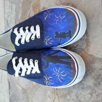 Hand painted Walt Disney and Mickey Mouse shoes