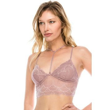 Ladies fashion long line lace bralette w/strap