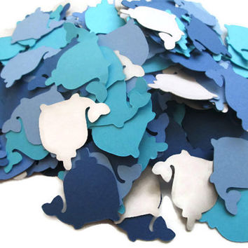 Set of 100 Whale Confetti - Blues, Greys and Navy - It's a BOY, whale confetti, blue and grey