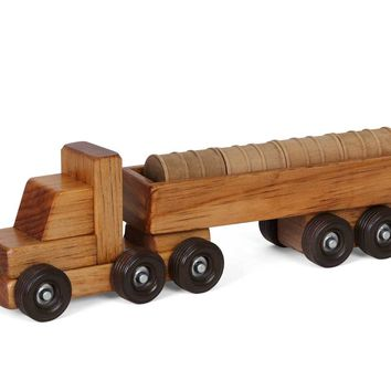 Wooden Truck - Small Barrel Truck - Traditional Toys for Kids