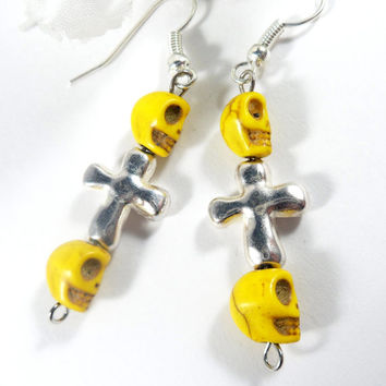 Cross Charm Yellow Sugar Skull Earrings, Day of the Dead Goth Earrings, Mardi Gras Yellow Earrings, Gothic Earrings, Dangle Earrings