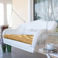 White Resin Wicker Porch Swing With Comfort Spring & Hanging Hooks & Sand Cushion