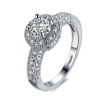 Fashion brilliant bridal micro pave zirconia cz ring female alliance proposal wedding rings jewelry engagement rings for women