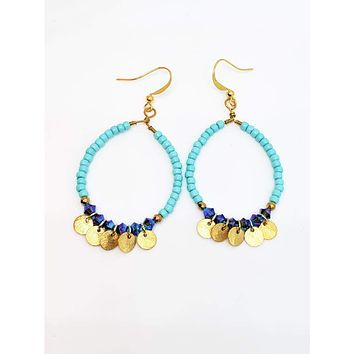 Beaded Hoop Earrings with Crystals and Gold Drops