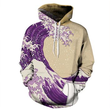 Hoodies Unisex Outerwear 3D Water wave Funny Print Sports Pullovers Popular Clothing Lovers Clothing