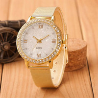 Womens Girls Unique Classic Casual Sports Watches with Diamond Gold Alloy Strap Watch Best Christmas Gift 391