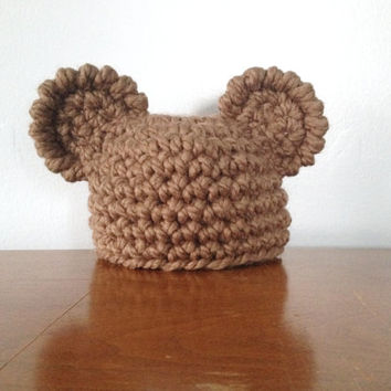 Newborn Bear Hat - Crochet Ear Hat - Gender Neutral - Brown Baby Beanie - Newborn Boy Hats - Newborn Girl Hats - Chunky Mouse Hat