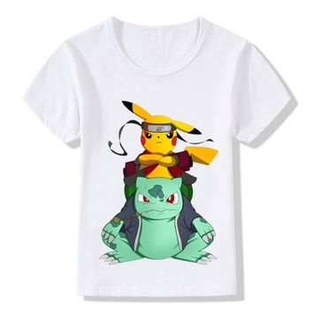 Boys/Girls Naruto Pikachu In Thor Armor Printed Funny T-shirts Baby Kids Summer Tops Tees Children Pokemon Go Clothes,HKP5069