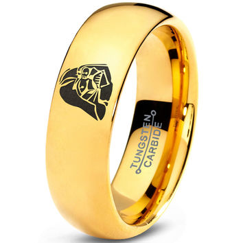 Darth Vader Inspired 18k Yellow Gold Dome Tungsten Ring