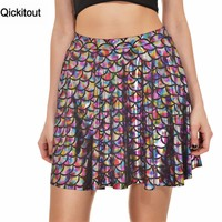 Qickitout Skirts 2016 Plus Size Sexy 12 Colors Women's New Summer Mermaid Color Scales Skirts 3D Digital Printing Skirts