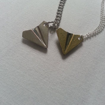 One Direction Harry Styles Inspired Silver Paper Plane Airplane Design Charm Necklace