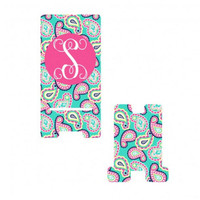 Monogram Phone Holder Paisley Monogram Phone Charging Stand Monogram iPhone Android Phone Holder Monogram Phone Charging Stand Teen Gift