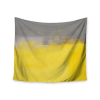 "CarolLynn Tice ""A Simple Abstract"" Yellow Gray Wall Tapestry"