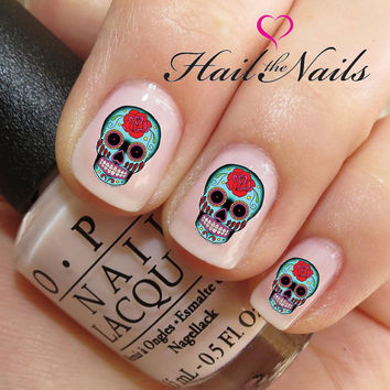 Nail WRAPS Nail Art Water Transfers Decals - 20 Red Rose Sugar Skulls Y229