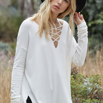 Honey Punch Lace-Up Tunic Sweater at PacSun.com