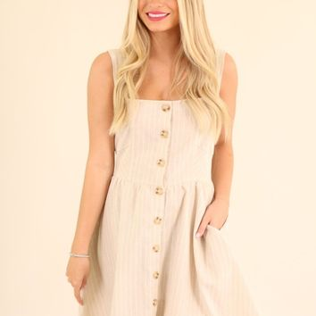 IN THE DETAILS DRESS- TAUPE STRIPE