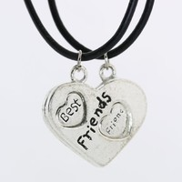 Two Hearts One Soul-best Friends with Two Black Cord Chain Charm Necklace