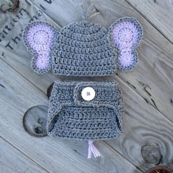 Elephant Baby Outfit Heather Grey Purple Newborn Photo Prop