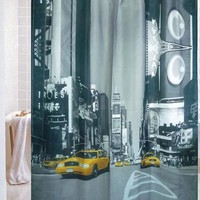 City Street Yellow Cab Taxi Bath Shower Curtain/Modern City Taxi Buildings High Quality No Mildew Waterproof Shower Curtain (Size: 180cm by 180cm, Color: Multicolor)