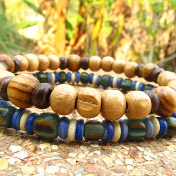 Mens Wooden Beaded & Glass Bone Mala Style Surfer Bracelets / Chakra Meditation Stretch Hippie Bracelet Wrist Bands / Festival Beach Wear