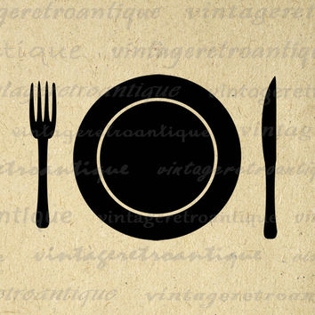 Printable Graphic Plate Setting with Fork and Knife Image Food Plate Digital Restaurant Download Vintage Clip Art  HQ 300dpi No.4505
