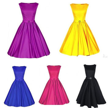 Women Retro Rockabilly Pinup Housewife Swing Party Evening Dress = 1946577348