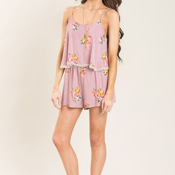 Mindy Pink Layered Floral Romper