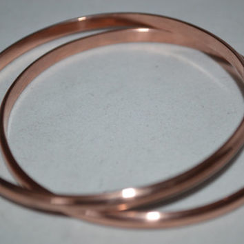 Two Half Round Copper Bangles