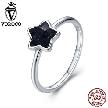 VOROCO 2018 Authentic 925 Sterling Silver Dazzling Star Goldstone Rings for Women Party New Year Gift Fine Jewelry VSR135