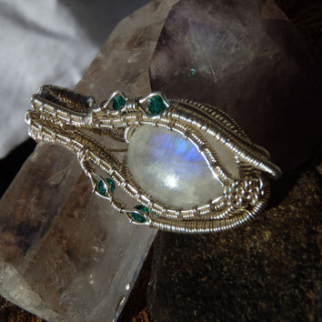 BEAUTIFUL MOONSTONE pendant with purple flashes, Emerald Crystals and Sterling Silver Handmade Wire Wrapped with Love, Heady Jewelry